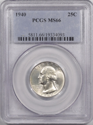 New Certified Coins 1940 WASHINGTON QUARTER – PCGS MS-66 WHITE!