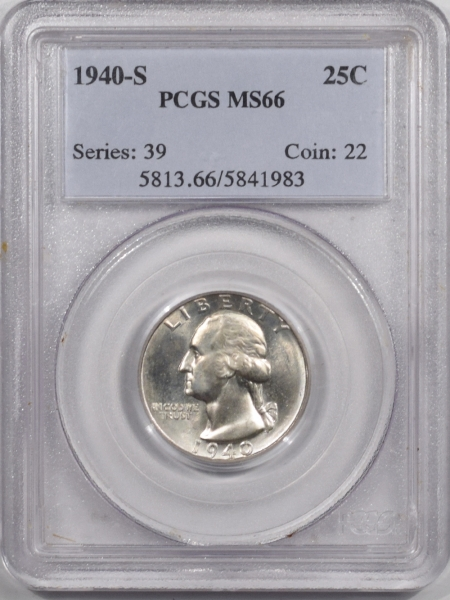 New Certified Coins 1940-S WASHINGTON QUARTER – PCGS MS-66 WHITE!