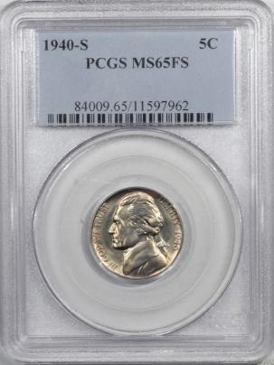 New Certified Coins 1940-S JEFFERSON NICKEL – PCGS MS-65 FS