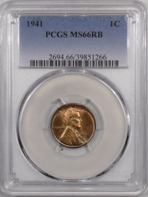New Certified Coins 1941 LINCOLN CENT – PCGS MS-66 RB, REALLY PRETTY!