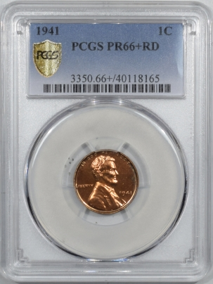 New Certified Coins 1941 PROOF LINCOLN CENT – PCGS PR-66+ RD