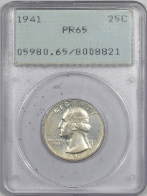 Washington Quarters 1941 PROOF WASHINGTON QUARTER – PCGS PR-65, RATTLER!