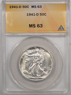 New Certified Coins 1941-D WALKING LIBERTY HALF DOLLAR – ANACS MS-63