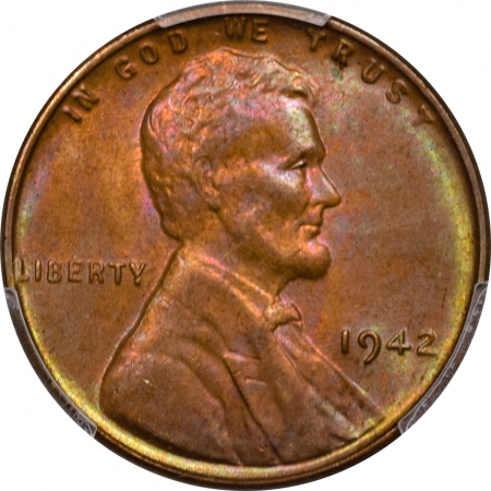 Lincoln Cents (Wheat) 1942 LINCOLN CENT – PCGS MS-65 RB, REALLY PRETTY!