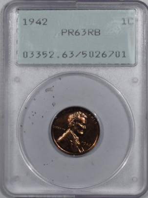 New Certified Coins 1942 PROOF LINCOLN CENT – PCGS PR-63 RB RATTLER, PREMIUM QUALITY!