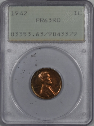 New Certified Coins 1942 PROOF LINCOLN CENT – PCGS PR-63 RD RATTLER, PREMIUM QUALITY!