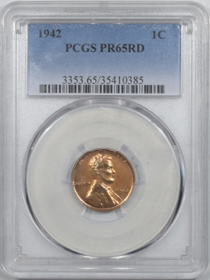 New Certified Coins 1942 PROOF LINCOLN CENT – PCGS PR-65 RD