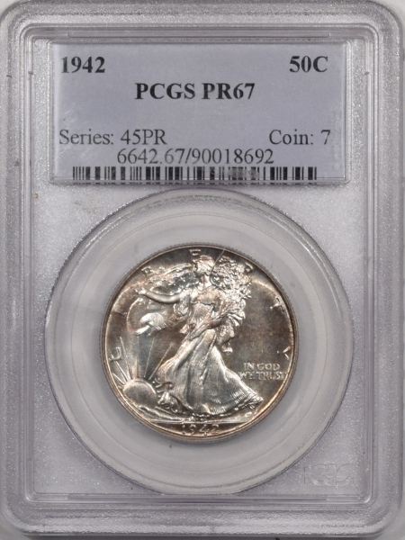 New Certified Coins 1942 PROOF WALKING LIBERTY HALF DOLLAR – PCGS PR-67 SUPERB GEM!