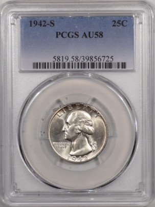 New Certified Coins 1942-S WASHINGTON QUARTER – PCGS AU-58