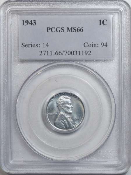 New Certified Coins 1943 LINCOLN CENT – PCGS MS-66