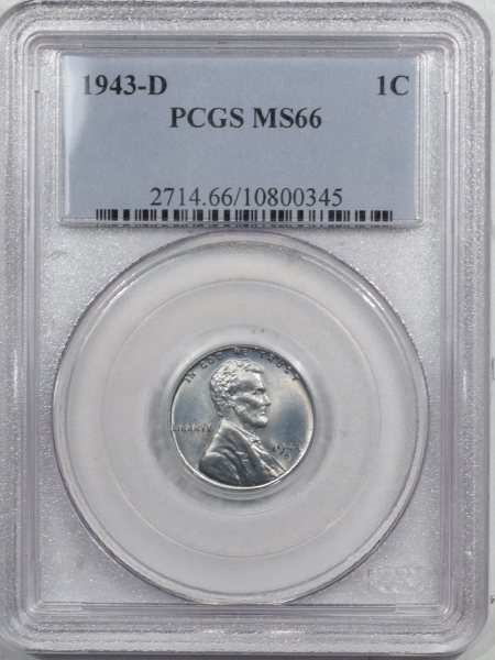 Lincoln Cents (Wheat) 1943-D LINCOLN CENT – PCGS MS-66