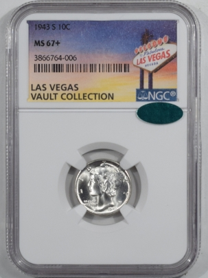 CAC Approved Coins 1943-S MERCURY DIME – NGC MS-67+ NEARLY FB BLAST WHITE CAC APPROVED!