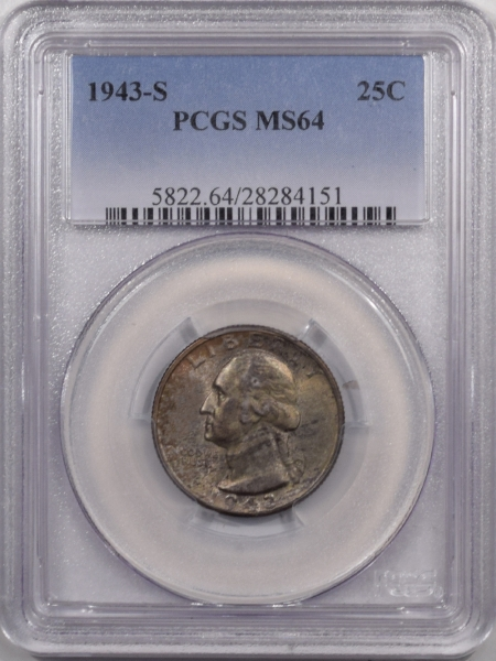 New Certified Coins 1943-S WASHINGTON QUARTER – PCGS MS-64 PRETTY!
