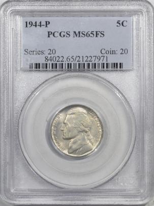 New Certified Coins 1944-P JEFFERSON NICKEL – PCGS MS-65 FS