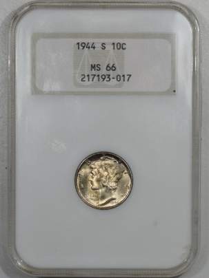 New Certified Coins 1944-S MERCURY DIME – ANACS MS-66 FATTIE HOLDER, PREMIUM QUALITY+