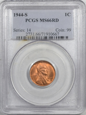 Lincoln Cents (Wheat) 1944-S LINCOLN CENT – PCGS MS-66 RD