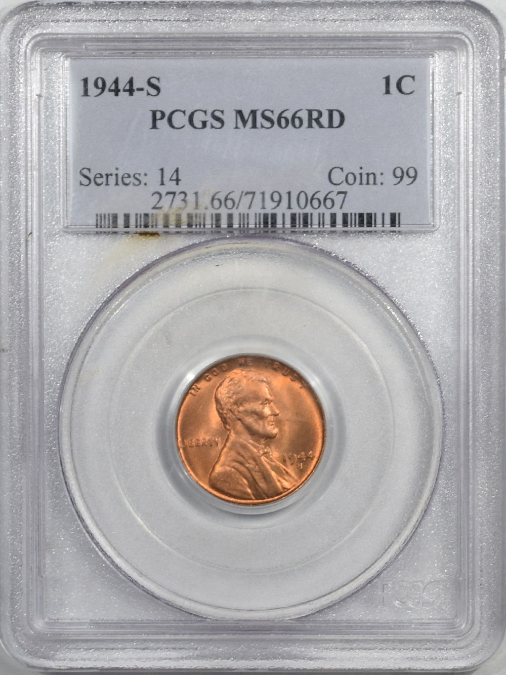 New Certified Coins 1945 LINCOLN CENT – PCGS MS-66 RD