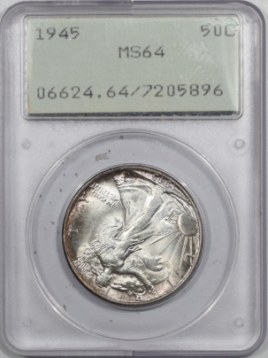 New Certified Coins 1945 WALKING LIBERTY HALF DOLLAR – PCGS MS-64 RATTLER, PRETTY & PREMIUM QUALITY!