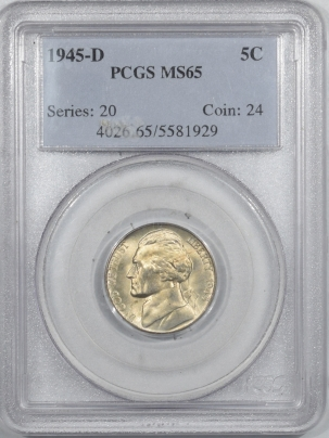 New Certified Coins 1945-D JEFFERSON NICKEL – PCGS MS-65, PREMIUM QUALITY! FS!
