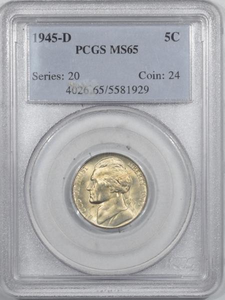 Jefferson Nickels 1945-D JEFFERSON NICKEL – PCGS MS-65, PREMIUM QUALITY! FS!