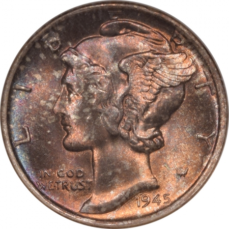 Coin World/Numismatic News Featured Coins 1945-S MERCURY DIME – NGC MS-68, STUNNING COLOR-WOW!