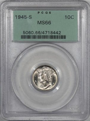 New Certified Coins 1945-S MERCURY DIME – PCGS MS-66 PREMIUM QUALITY, OLD GREEN HOLDER!