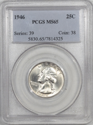 New Certified Coins 1946 WASHINGTON QUARTER – PCGS MS-65