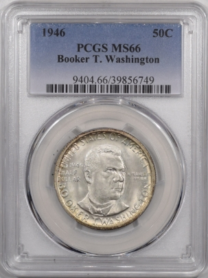 New Certified Coins 1946 BOOKER T. WASHINGTON HALF DOLLAR – PCGS MS-66, FRESH & PQ+
