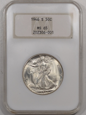 New Certified Coins 1946-S WALKING LIBERTY HALF DOLLAR – NGC MS-65, PQ+, LOOKS 66+ OLD FATTY HOLDER!