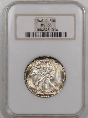 New Certified Coins 1946-S WALKING LIBERTY HALF DOLLAR – NGC MS-65 FATTIE HOLDER, PRETTY & PQ!