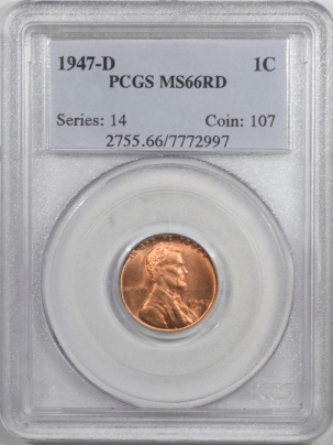 Lincoln Cents (Wheat) 1947-D LINCOLN CENT – PCGS MS-66 RD