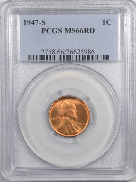 New Certified Coins 1947-S LINCOLN CENT – PCGS MS-66 RD PREMIUM QUALITY!