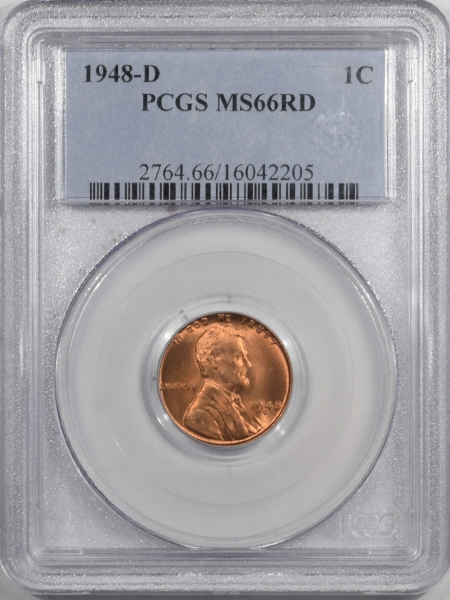 New Certified Coins 1948-D LINCOLN CENT – PCGS MS-66 RD