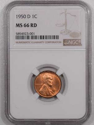 New Certified Coins 1950-D LINCOLN CENT – NGC MS-66 RD