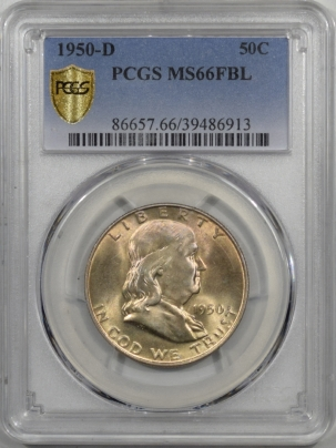 New Certified Coins 1950-D FRANKLIN HALF DOLLAR – PCGS MS-66 FBL