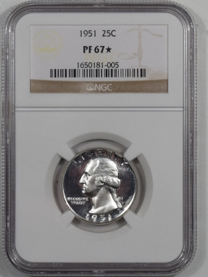New Certified Coins 1951 PROOF WASHINGTON QUARTER – NGC PF-67 STAR LOOKS CAM!