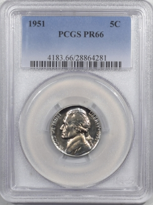 Jefferson Nickels 1951 PROOF JEFFERSON NICKEL – PCGS PR-66