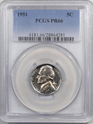 Jefferson Nickels 1951 PROOF JEFFERSON NICKEL – PCGS PR-66