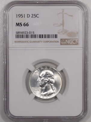 New Certified Coins 1951-D WASHINGTON QUARTER – NGC MS-66