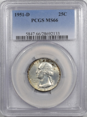Washington Quarters 1951-D WASHINGTON QUARTER – PCGS MS-66 FRESH & PREMIUM QUALITY!