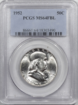 New Certified Coins 1952 FRANKLIN HALF DOLLAR – PCGS MS-64 FBL