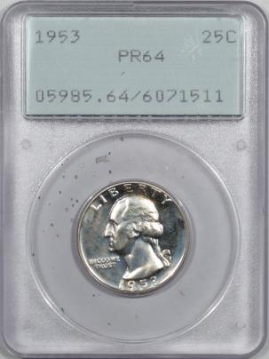 New Certified Coins 1953 PROOF WASHINGTON QUARTER – PCGS PR-64, RATTLER & PREMIUM QUALITY++!