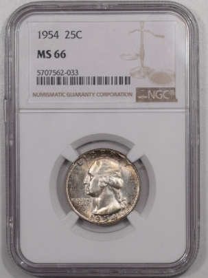 New Certified Coins 1954 WASHINGTON QUARTER – NGC MS-66