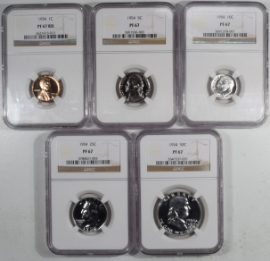 New Certified Coins 1954 5 PIECE PROOF SET, MATCHED NGC PR-67, ALL COINS ARE LUSTROUS & UNTONED!