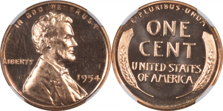 U.S. Proof Sets 1954 5 PIECE PROOF SET, MATCHED NGC PR-67, ALL COINS ARE LUSTROUS & UNTONED!