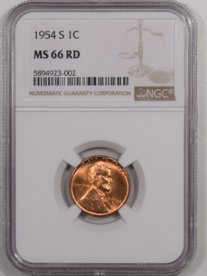 Lincoln Cents (Wheat) 1954-S LINCOLN CENT – NGC MS-66 RD