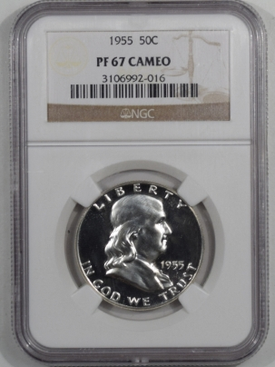 Franklin Halves 1955 PROOF FRANKLIN HALF DOLLAR – NGC PF-67 CAMEO!