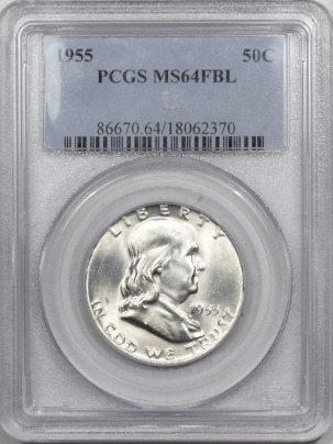 New Certified Coins 1955 FRANKLIN HALF DOLLAR – PCGS MS-64 FBL