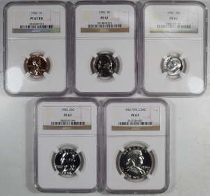 New Certified Coins 1956 5 PIECE PROOF SET, MATCHED NGC PR-67, ALL COINS ARE LUSTROUS & UNTONED!