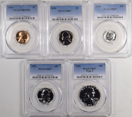 New Certified Coins 1956 5 COIN U.S. PROOF SET, CENT – HALF DOLLAR ALL PCGS PR-67, RED CENT, MATCHED